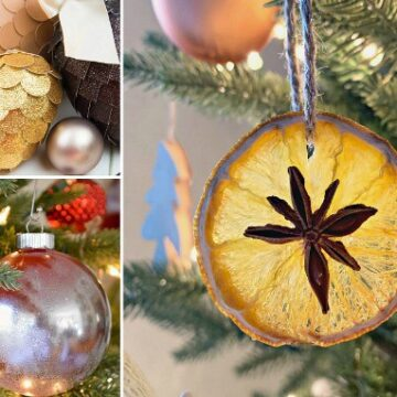 collage of 3 diy christmas ornaments
