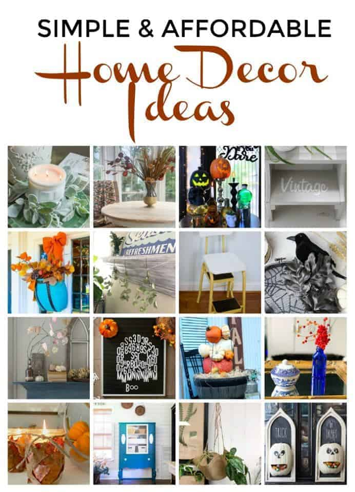 collage of thrifty home decor ideas and a large graphic