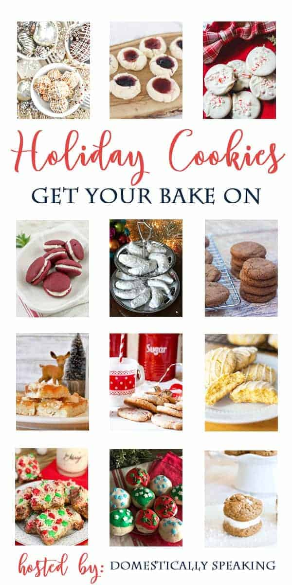 collage with different holiday cookies and a large logo