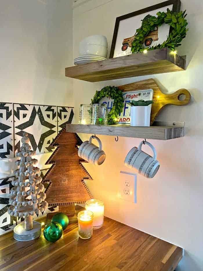 Christmas decor in corner of RV kitchen