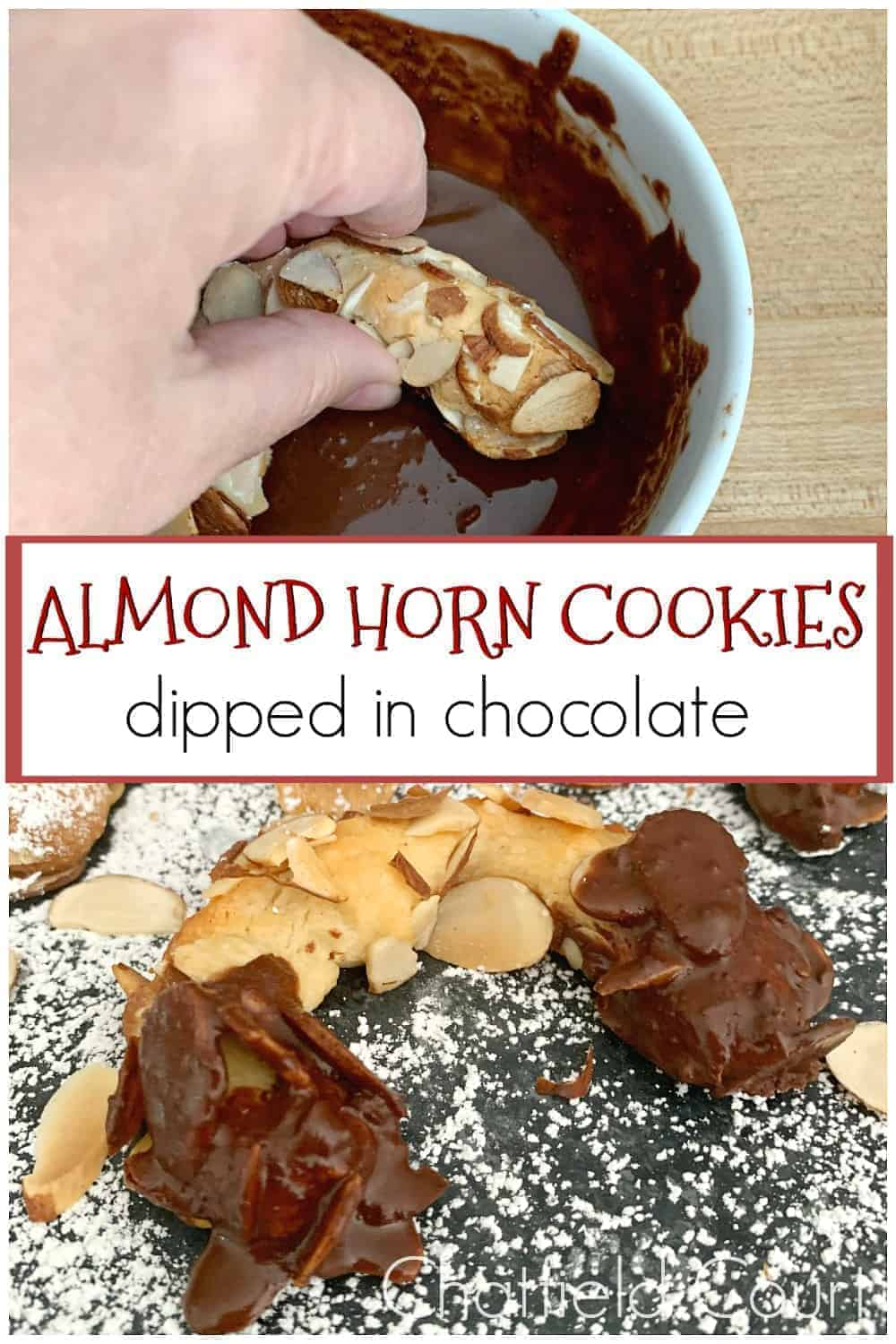 dipping almond horn cookies in a bowl of melted semi-sweet chocolate and dipping almond horn cookies in a bowl of melted semi-sweet chocolate