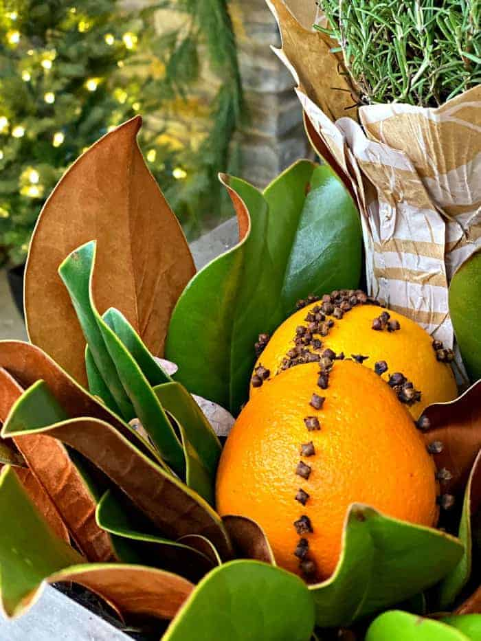 orange pomanders and magnolia leaves in planter on front porch decorated for Christmas