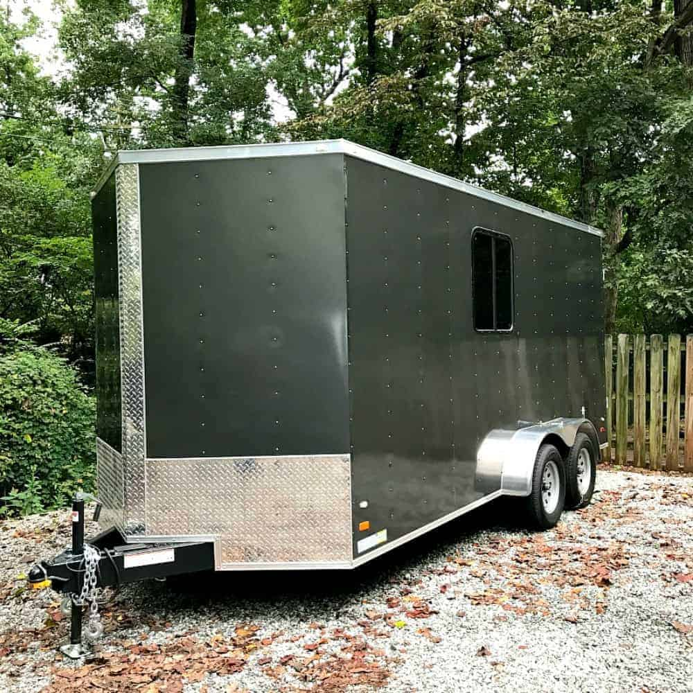 gray cargo trailer in driveway