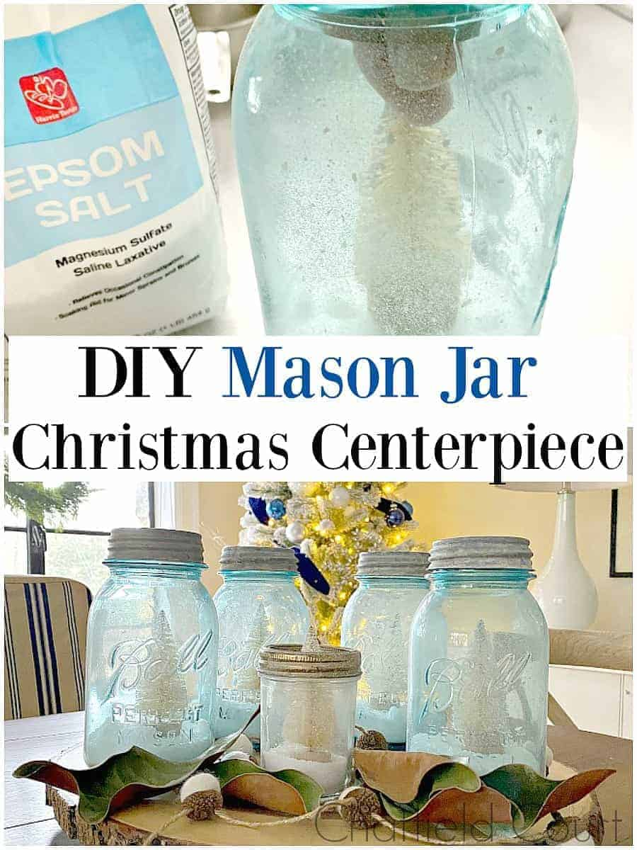 DIY mason jar Christmas centerpiece on dining table with tree in background and large grapgic