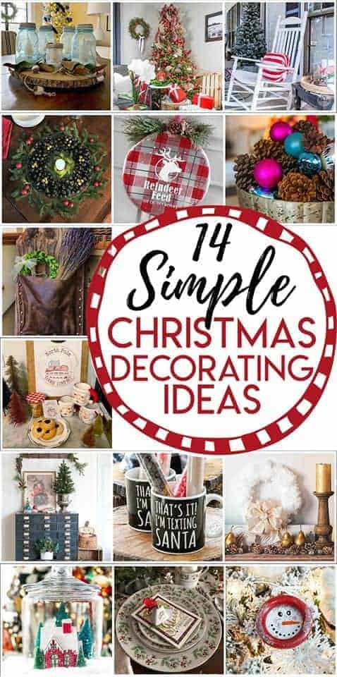 collage of thrifty Christmas decorating ideas and a large logo