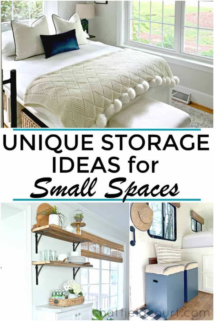 collage of unique storage ideas in a small home and a large graphic