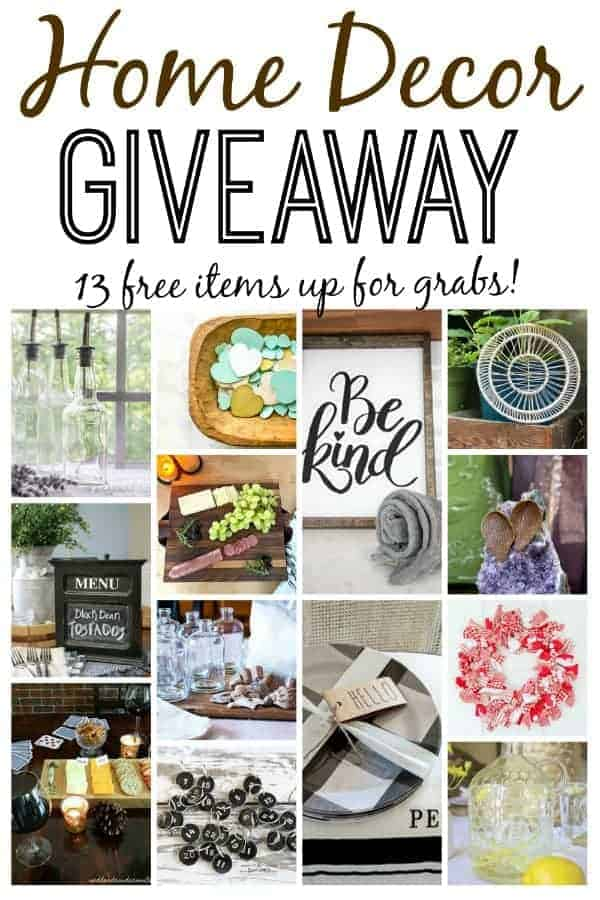 collage of thrifty home decor items for a big giveaway