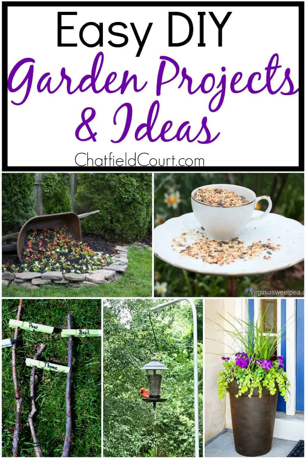 collage of DIY garden ideas and projects, and large graphic