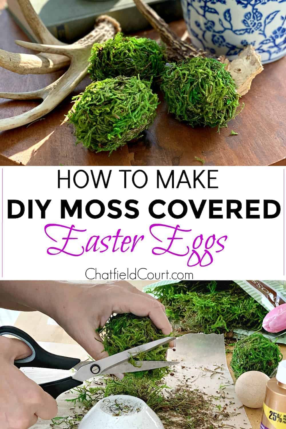 collage making moss covered Easter eggs and large graphic