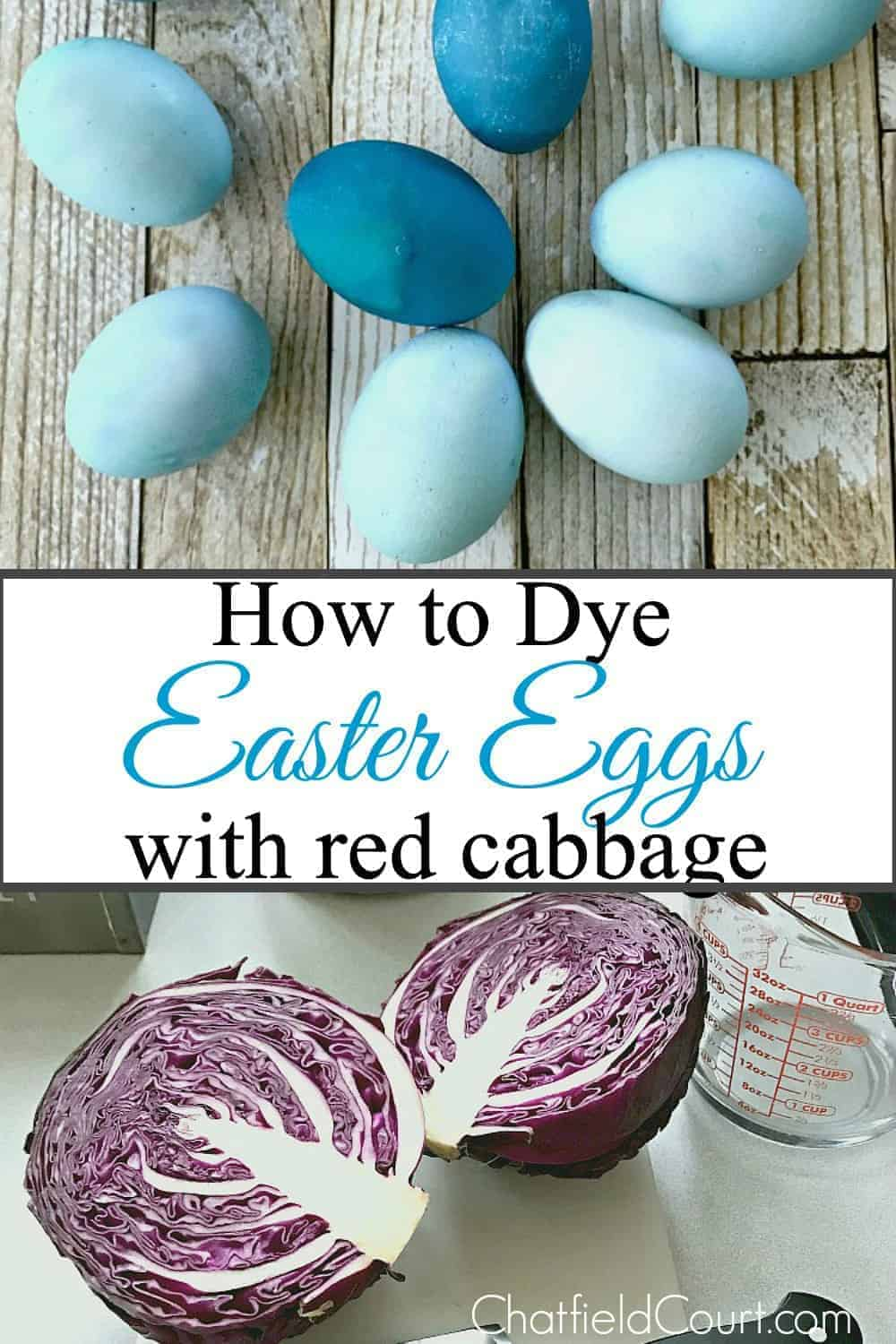 blue dyed easter eggs and red cabbage sliced in half