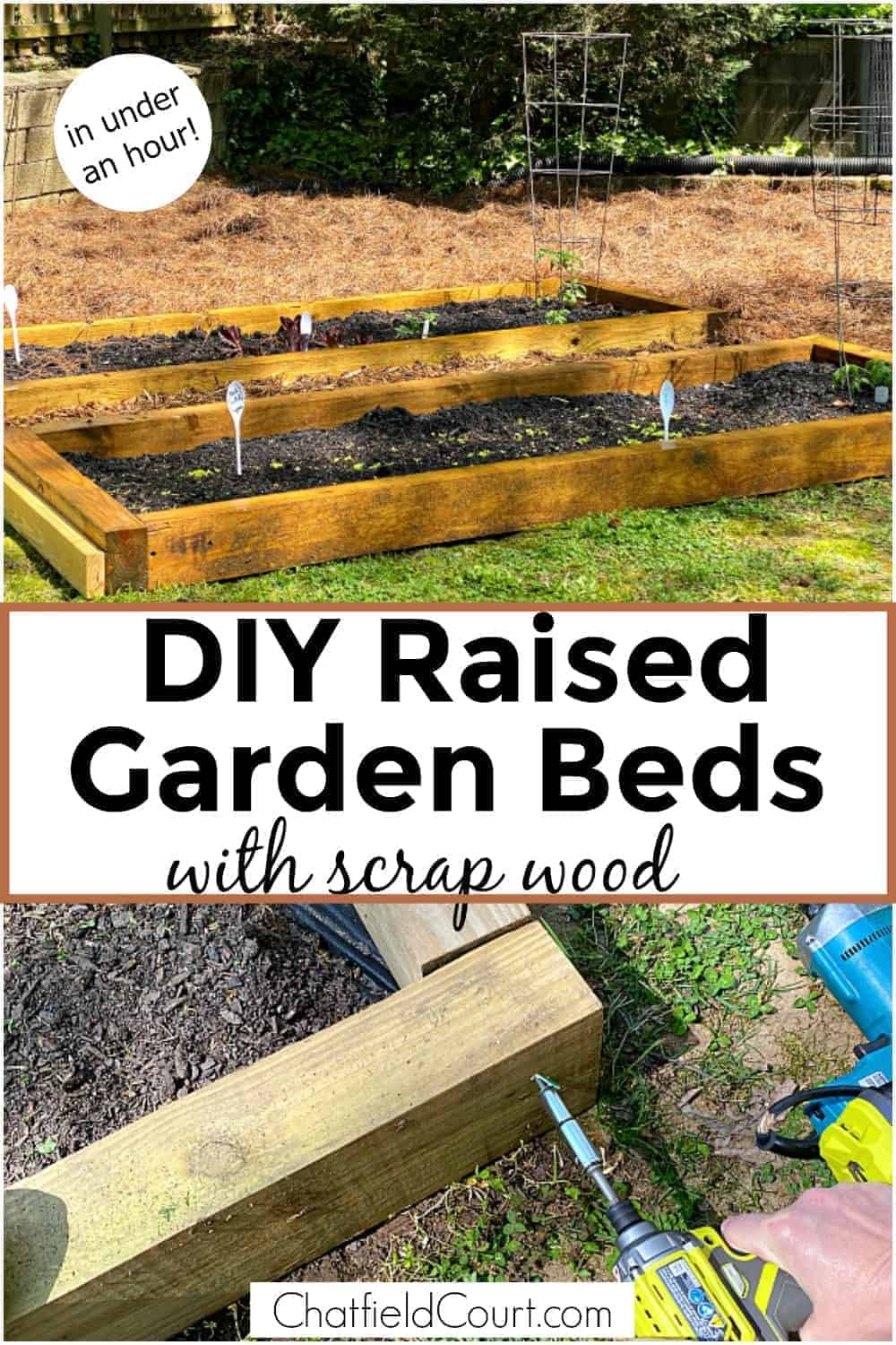 collage of diy raised garden beds and building raised garden bed plus large graphic