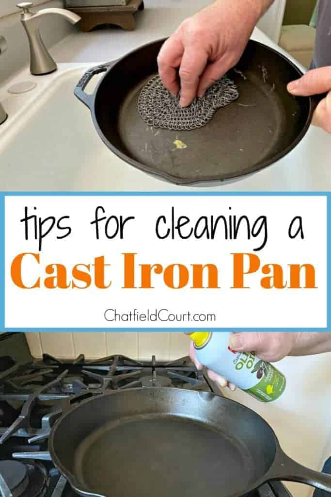 collage with person cleaning cast iron pan in sink with scrubber