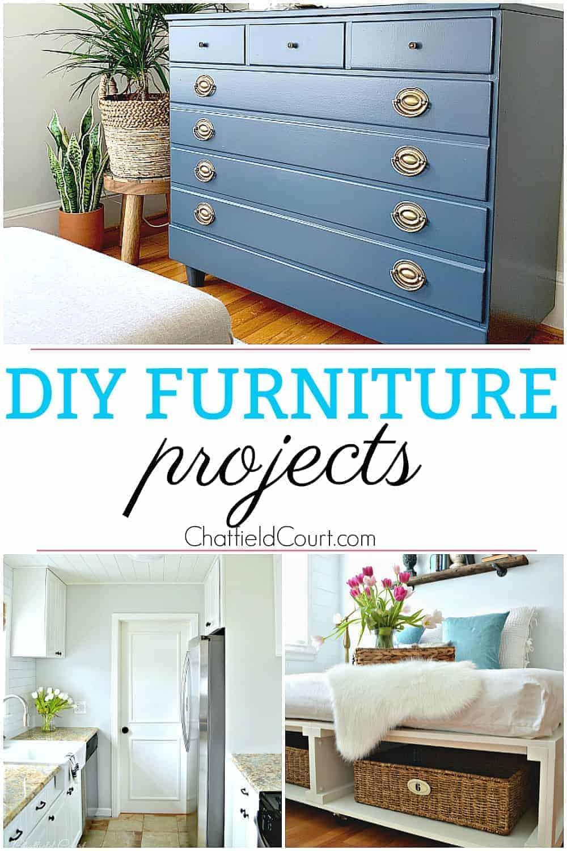 collage of DIY furniture projects including dresser and platform bed
