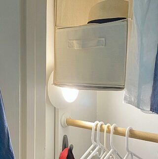 battery operated motion light in small clothes closet