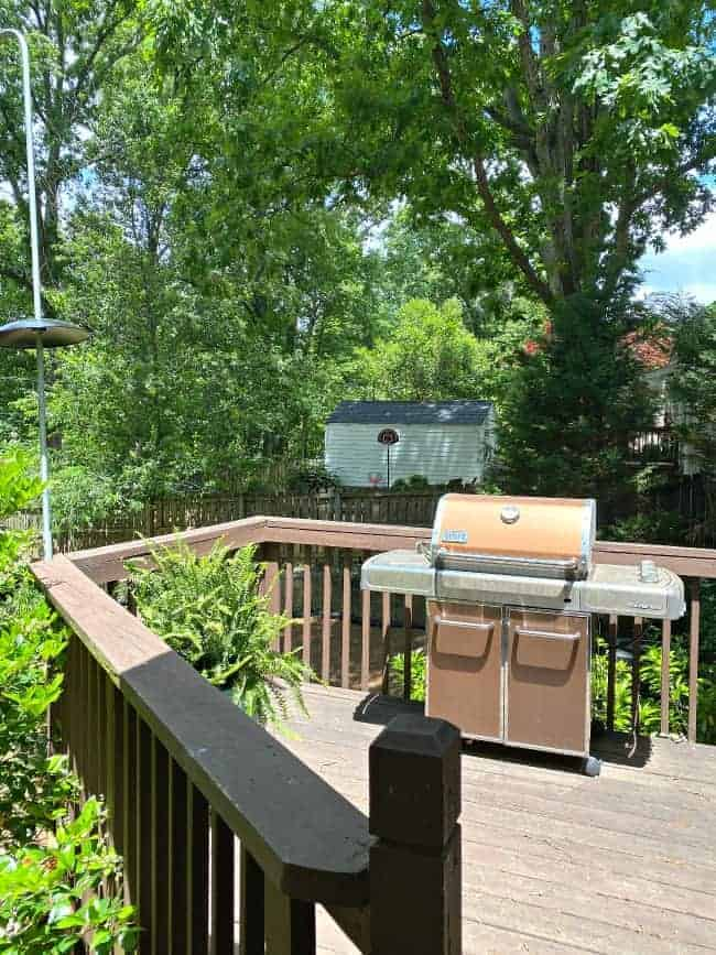 small backyard deck with grill and potted fern