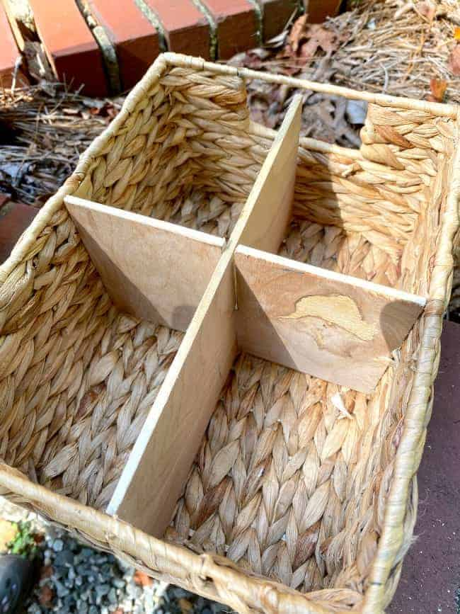 woven basket with DIY basket dividers in it