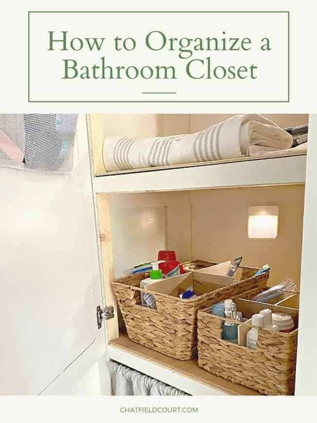 RV linen closet with woven basket filled with toiletries and a large graphic