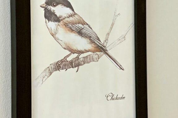 chickadee bird printable in black frame
