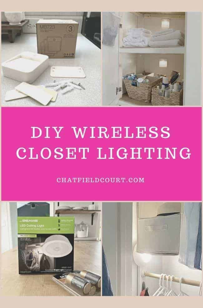 collage of wireless closet lighting ideas and large graphic