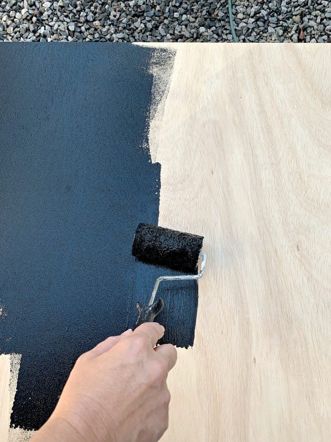 painting plywood with black paint