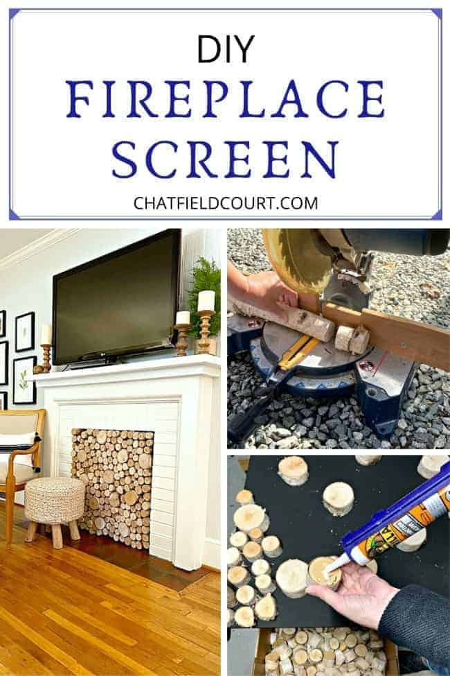 collage of DIY fireplace screen with birch logs