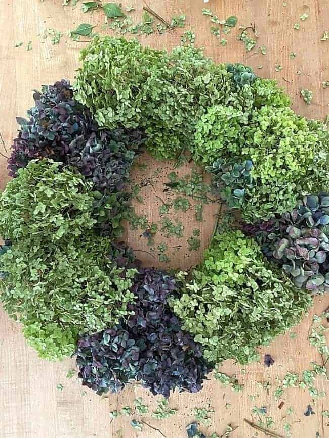 top view of dried hydrangea wreath