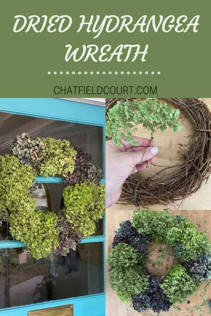 collage of person making dried hydrangea wreat, and a large graphic