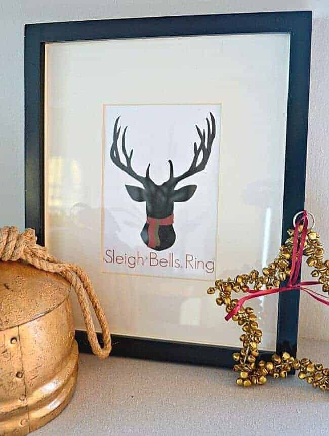 sleigh bells ring with deer head printable in black frame
