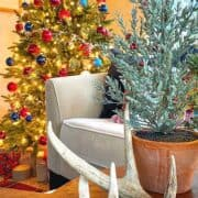 view of Christmas tree in the corner of a sunroom decorated in red