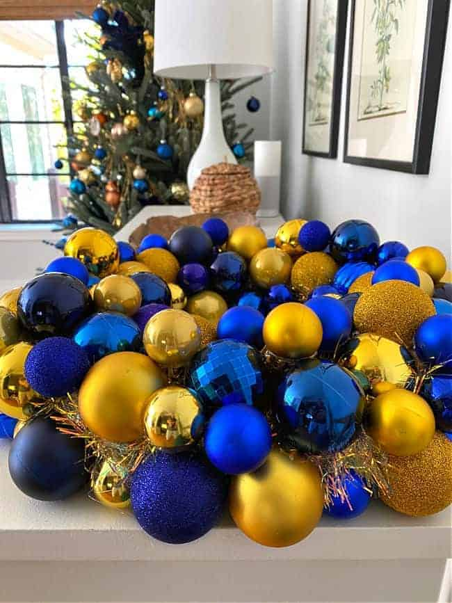 side view of blue and gold ornament wreath