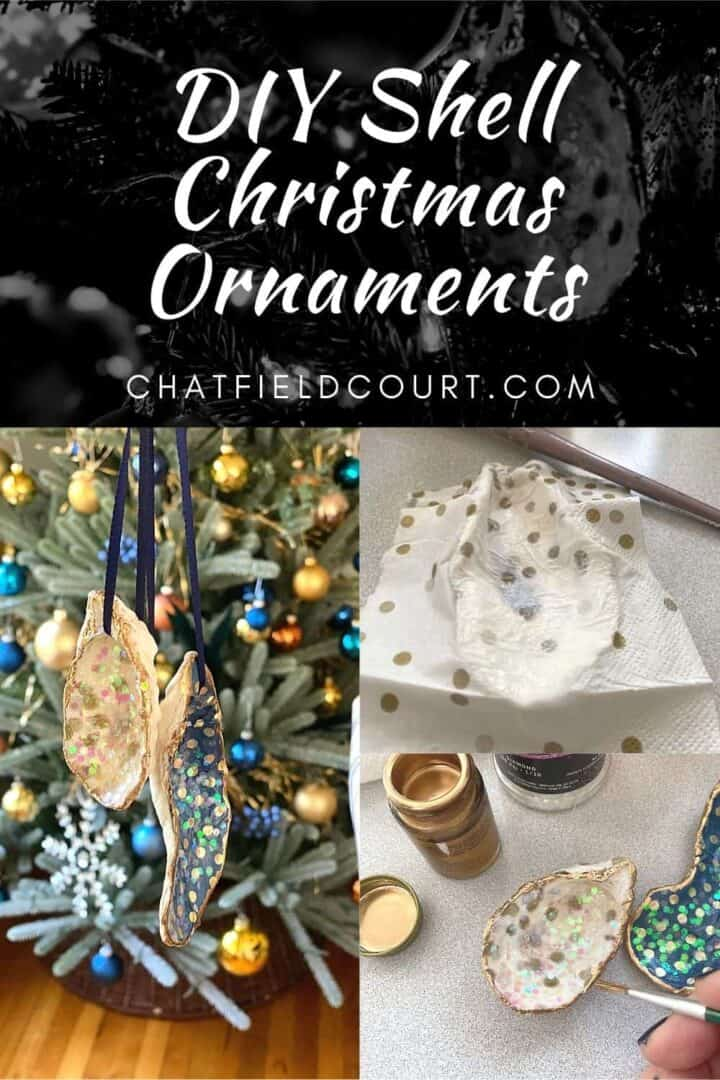 collage of DIY Christmas Shell ornaments with a large graphic