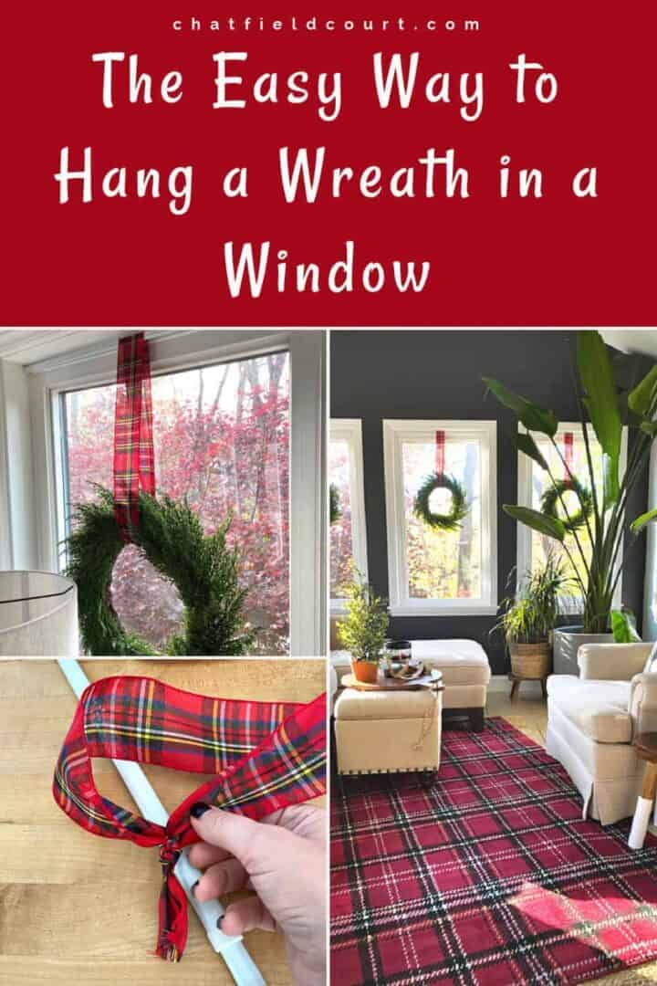 collage with red plaid ribbon, wreath and tension curtain rod to hang in windows, and a large graphic