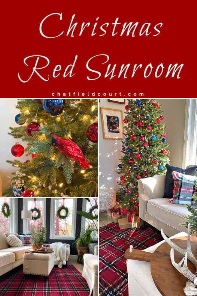 collage of red Christmas decor in a small sunroom, along with a large graphic