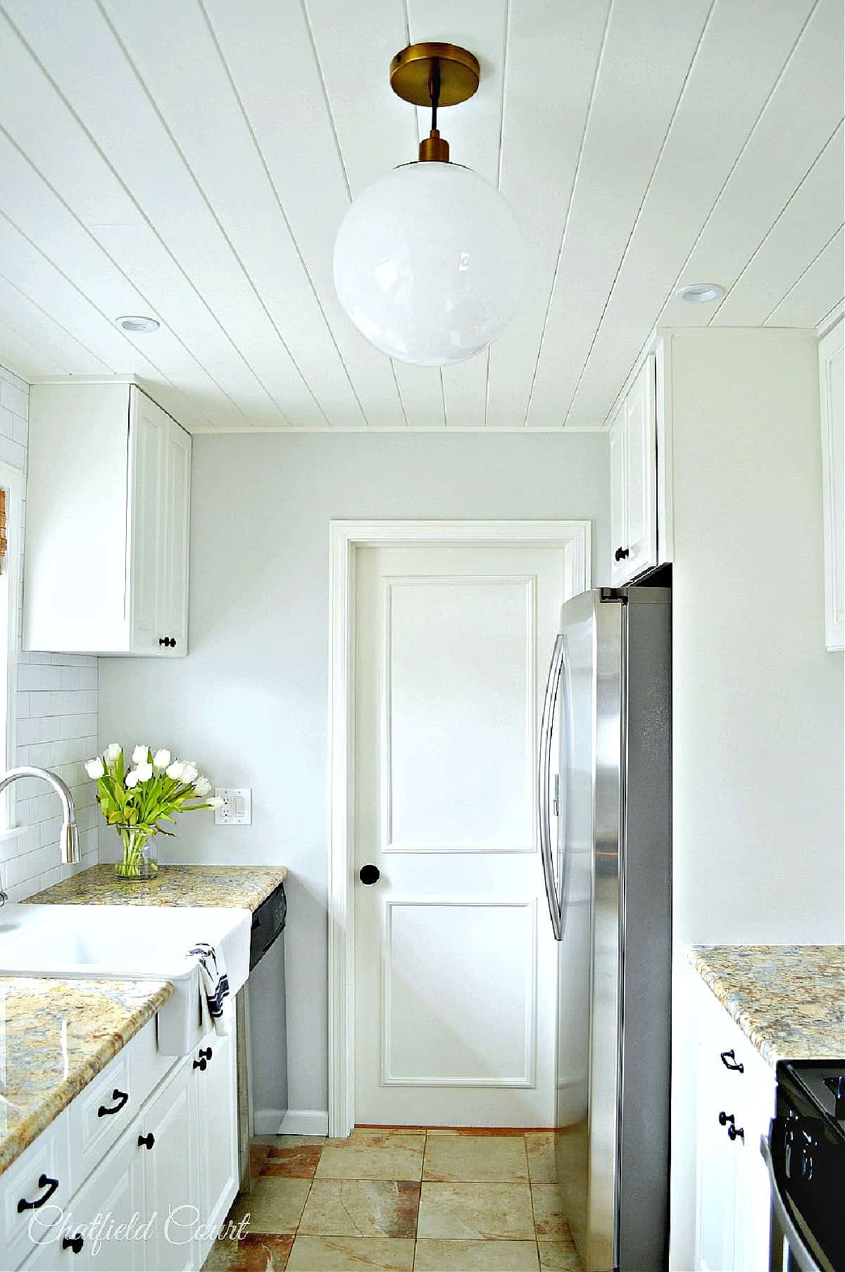 remodeled galley kitchen view