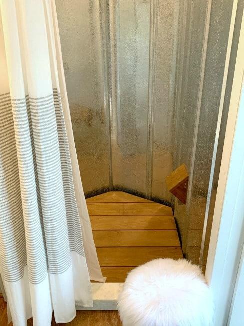DIY wood bath mat in RV shower