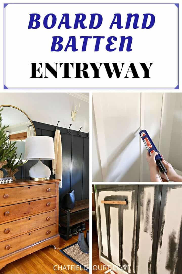 collage of process to create board and batten in an entryway
