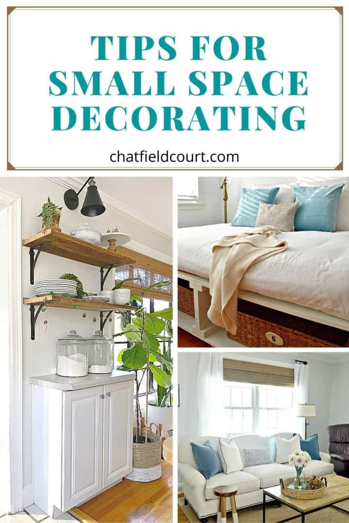 collage of small space decorating ideas in the kitchen, bedroom and living room