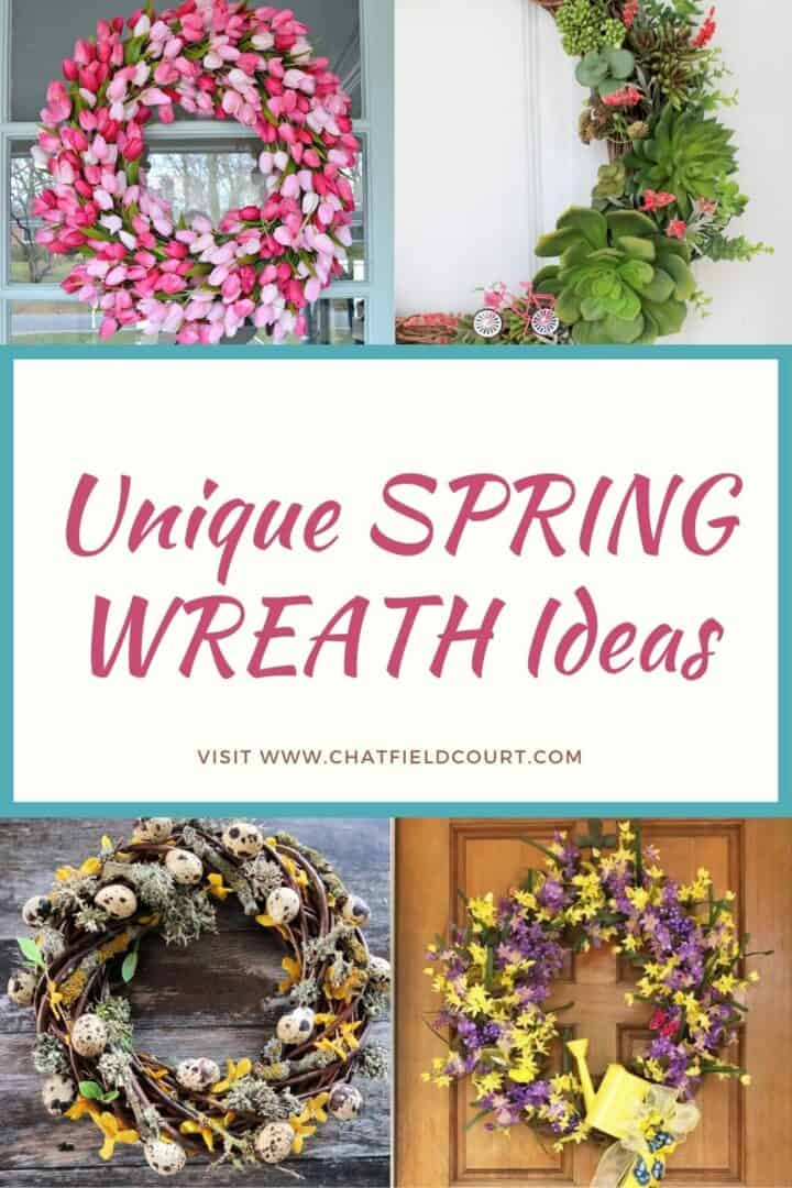 collage of DIY spring wreaths and large graphic