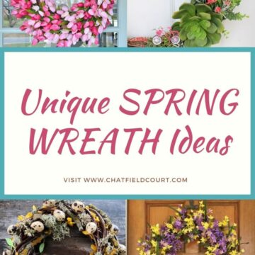 large graphic and collage of DIY spring wreaths