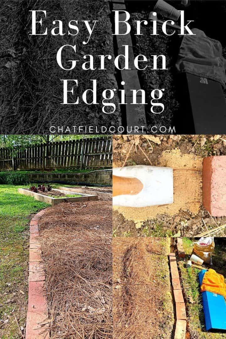 collage of easy brick garden edging