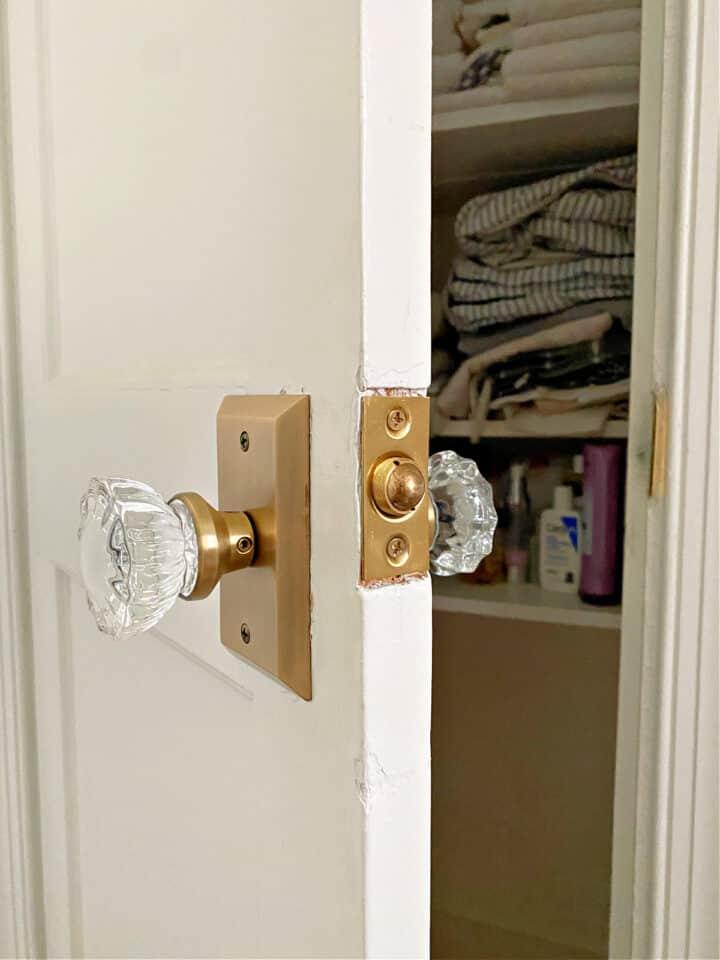 new glass door knobs on closet door
