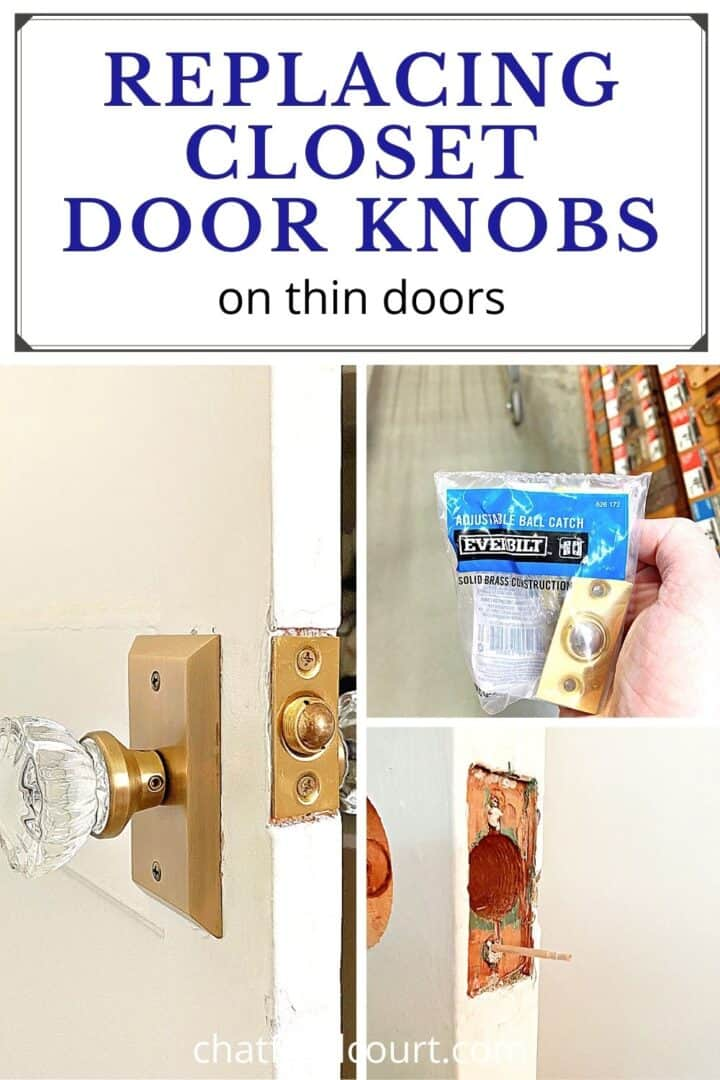 collage of replacing glass door knob on closet door