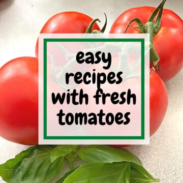bunch of fresh tomatoes and large graphic