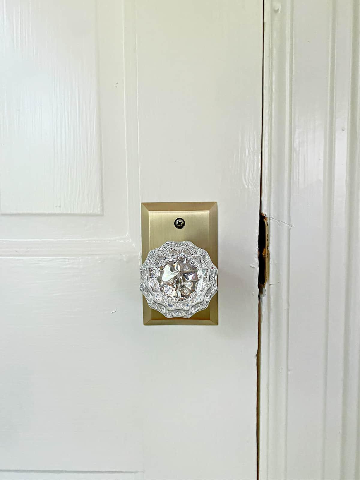 new glass door knobs on bedroom closet door