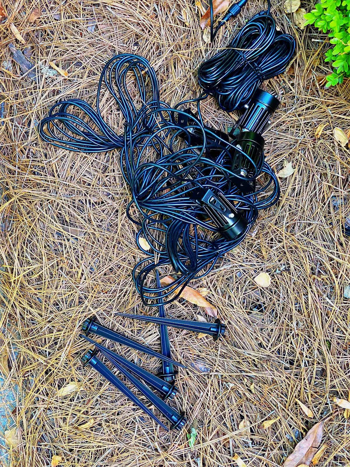 outdoor lighting kit on ground