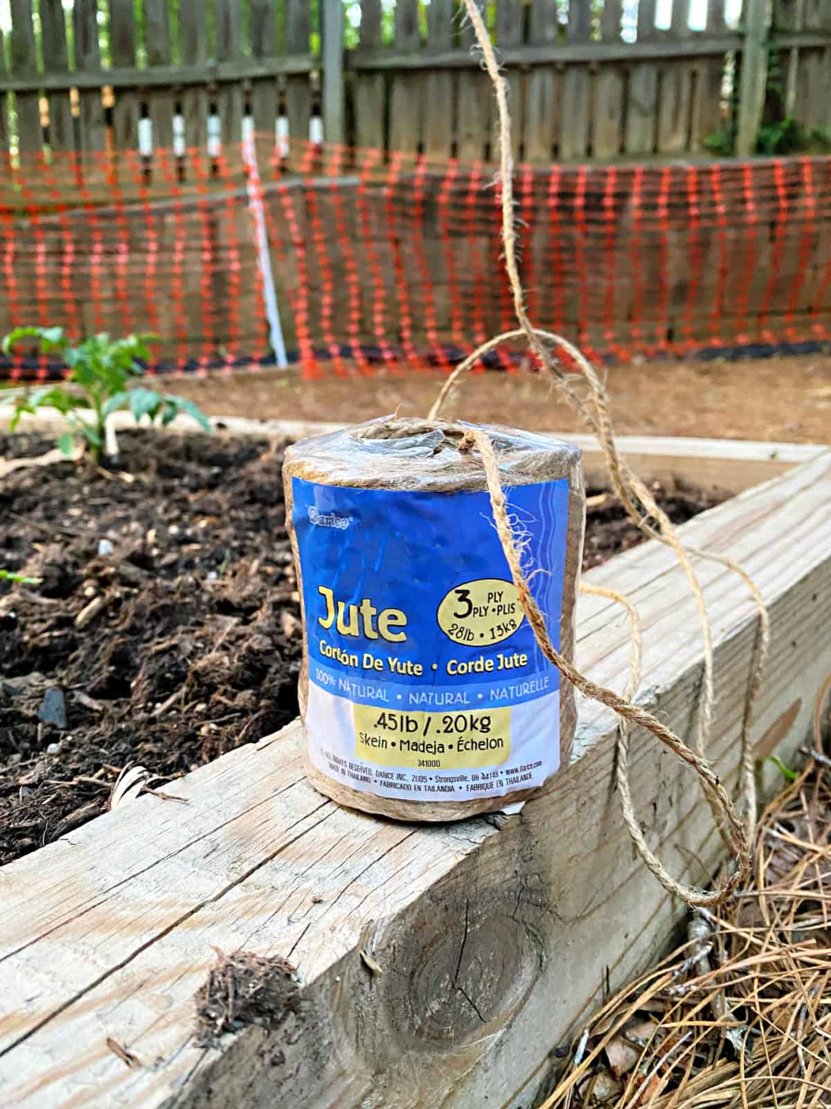 package of garden twine on wood