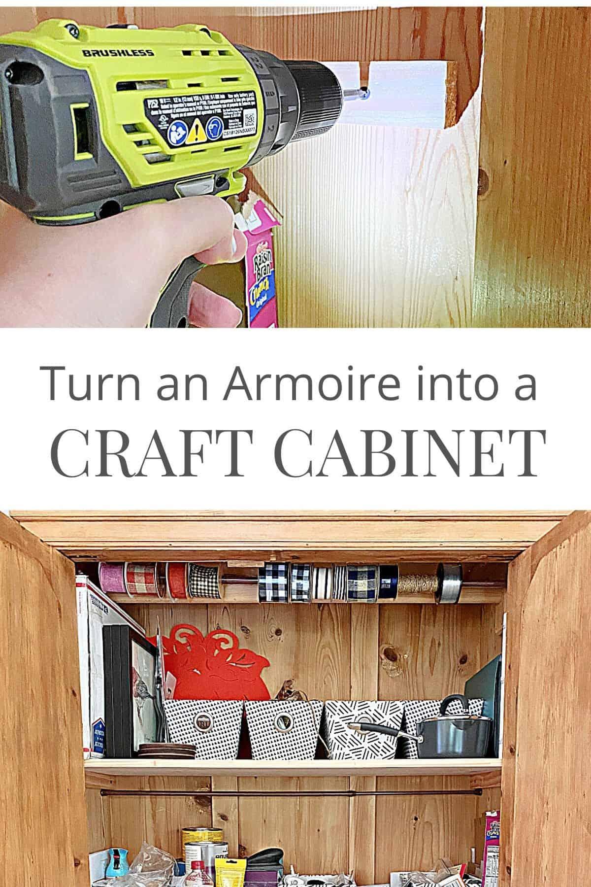 inside of DIY craft cabinet