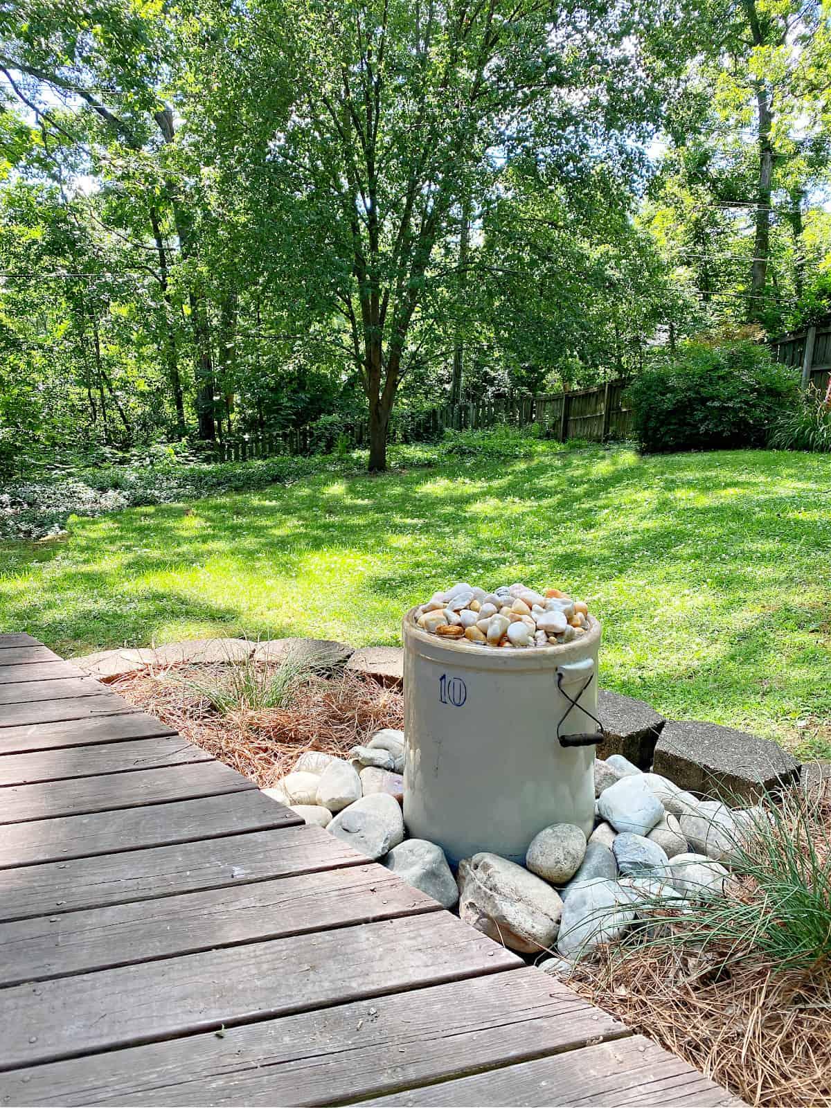 DIY water fountain in backyard