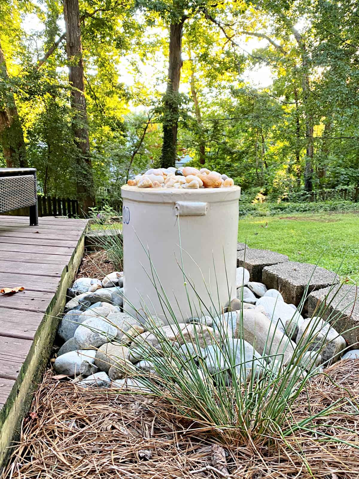 DIY water fountain in garden