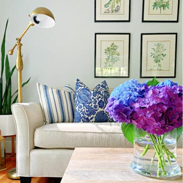 vase of flowers on coffee table